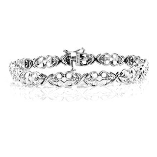 Sterling Silver Diamond Accent Hearts Design Fashion Bracelet