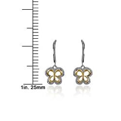 Bridal Symphony 10k Gold 1/6ct TDW Diamond Butterfly Earrings