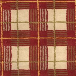 Safavieh Hand-knotted Lexington Plaid Red Wool Rug (5' x 8')