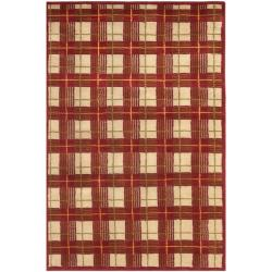 Hand-knotted Lexington Plaid Red Wool Rug (7'6 x 9'6)