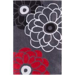 Handmade Avant-garde Daisies Dark Grey Rug (2'6 x 4')