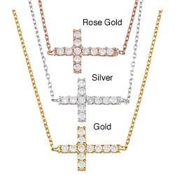 La Preciosa Sterling Silver Cubic Zirconia Sideways Cross Necklace