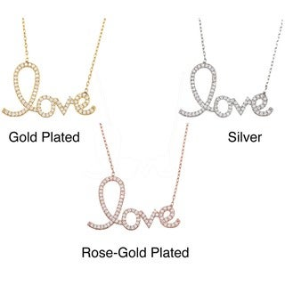 La Preciosa Sterling Silver Cubic Zirconia 'Love' Script Necklace