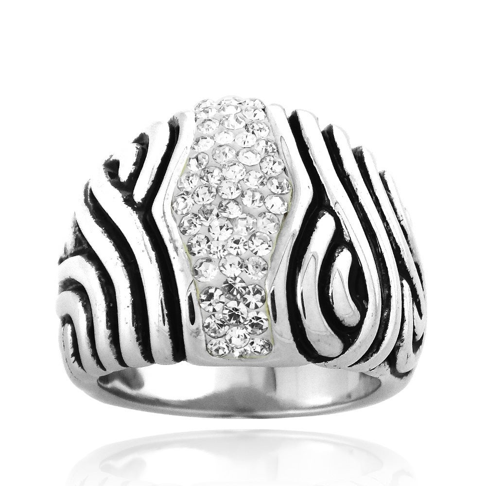 Icz Stonez Sterling Silver And Crystal Striped Ring