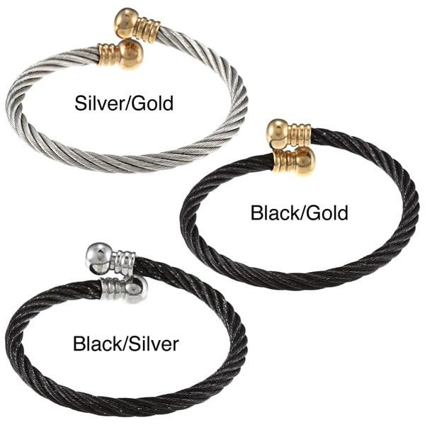 La Preciosa Stainless Steel Rope Design Open Cuff Cape Cod Bracelet