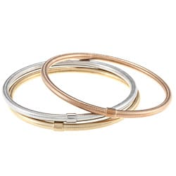 La Preciosa Stainless Steel Tri-color Hollow Bangle Set