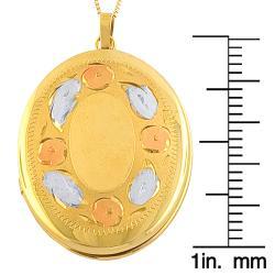 Fremada 14k Tri-color Gold Photo Locket Pendant Goldfill Box Chain