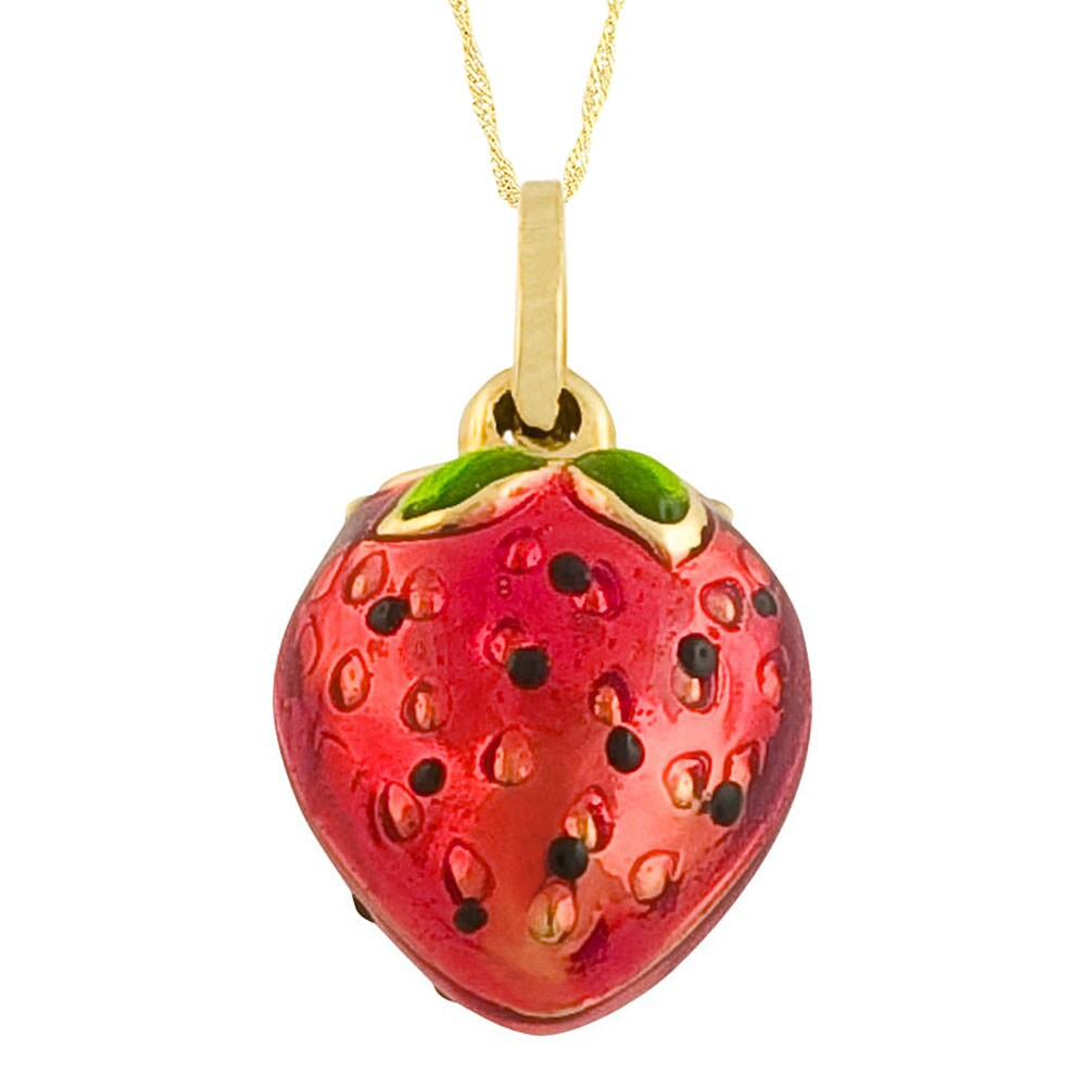 Fremada 14k Yellow Gold Enamel Strawberry Pendant Goldfill Singapore Chain