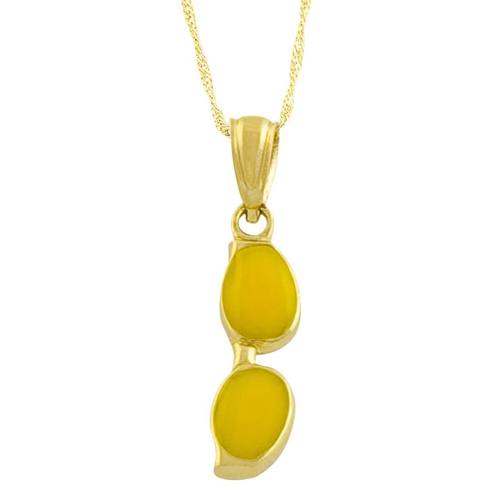 Fremada 14k Yellow Gold Enamel Sunglasses Pendant Goldfill Singapore Chain