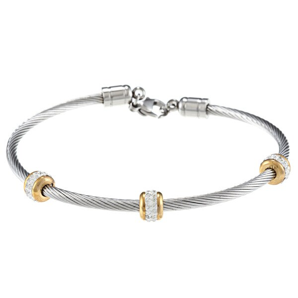 La Preciosa Stainless Steel Clear Crystal Cable Bracelet