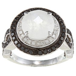 Silver Moonstone and 7/8ct TDW White/ Black Diamond Ring (J-K, I2-I3)