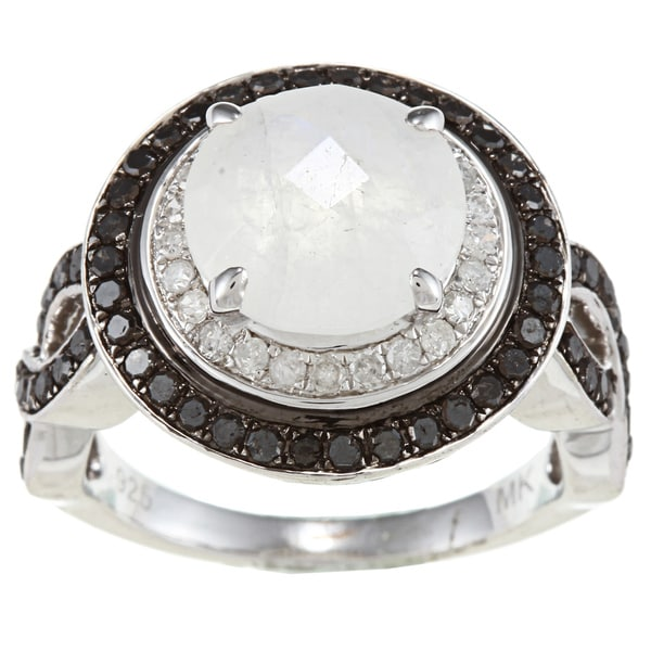 Silver Moonstone and 7/8ct TDW White/ Black Diamond Ring (J-K, I2-I3) silver moonstone ring