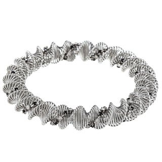 La Preciosa Steel Black and White Crystal Coil Stretch Bracelet