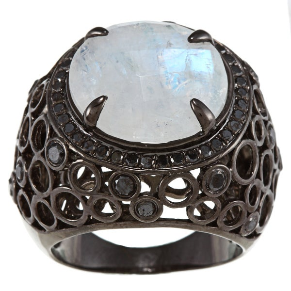 Sterling Silver Moonstone and 7/8ct TDW Black Diamond Ring silver moonstone ring