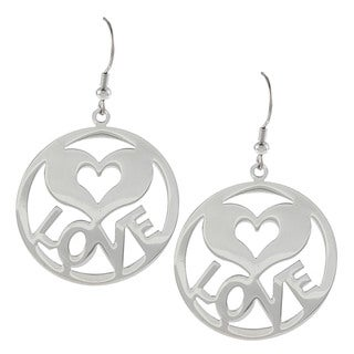 La Preciosa Stainless Steel 'Love' Heart and Circle Earrings
