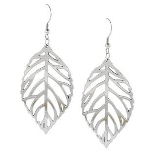 La Preciosa High-polish Stainless Steel Dangling Cutout Leaf Earrings
