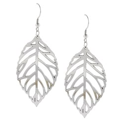La Preciosa High-polish Stainless Steel Dangling Cutout Leaf Earrings
