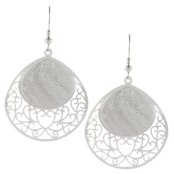 La Preciosa Stainless Steel Designed Dangle Earrings