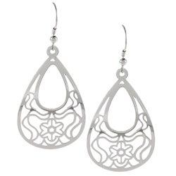 La Preciosa Stainless Steel Designed Teardrop Earrings