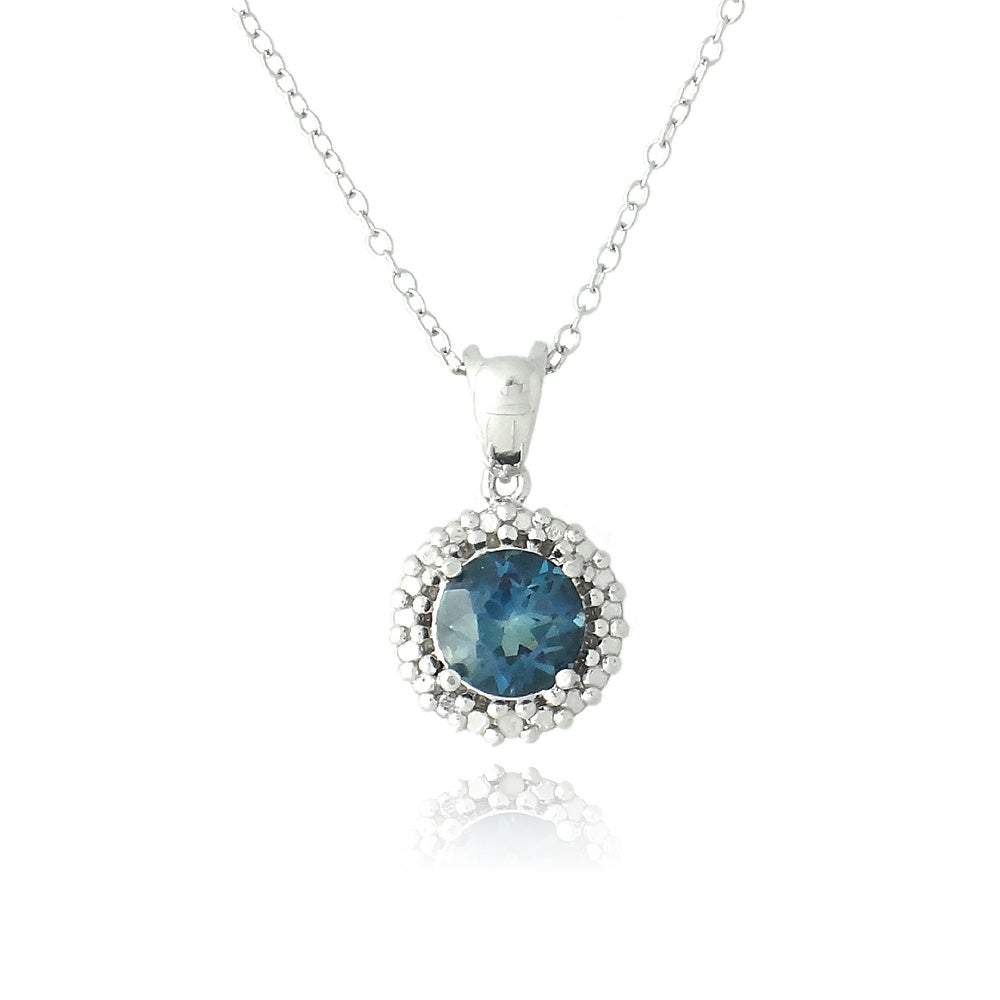 Glitzy Rocks Silver 1 5/8ct TGW Diamond Accent London Blue Topaz Necklace