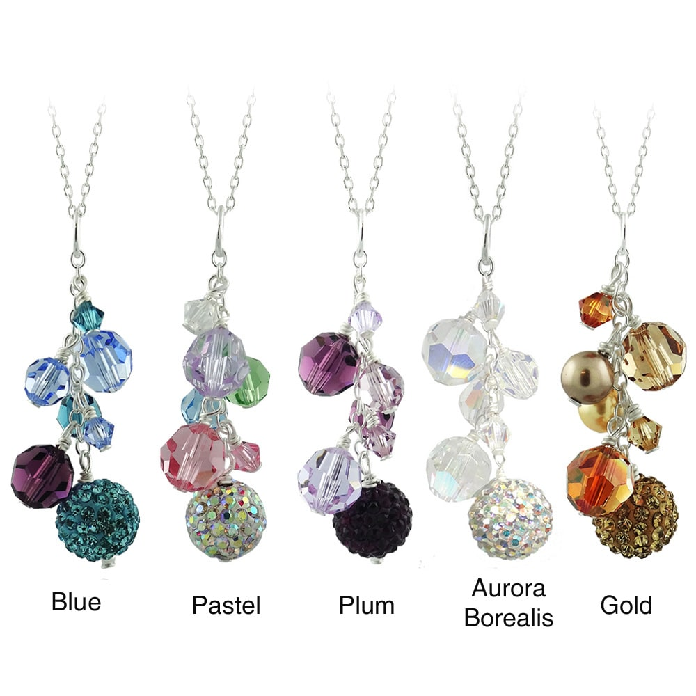 Icz Stonez Sterling Silver And Crystal Cluster Fireball Necklace