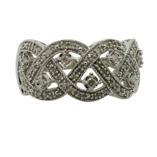Gioelli Sterling Braided Antique 1/4 ct Diamond Silver Ring (I1-I2, IJ)
