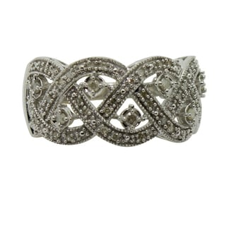 Sterling Braided Antique 1/4 ct Diamond Silver Ring (I1-I2, IJ)
