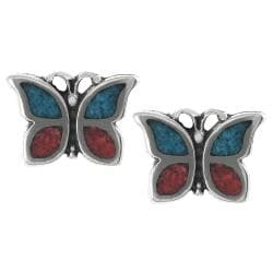 Tressa Sterling Silver Genuine Turquoise Coral Butterfly Stud Earrings