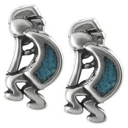 Tressa Sterling Silver Genuine Turquoise Kokopelli Stud Earrings