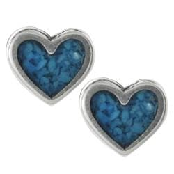 Journee Collection  Sterling Silver Genuine Turquoise Heart Stud Earrings