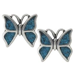 Tressa Collection Sterling Silver Genuine Turquoise Butterfly Stud Earrings