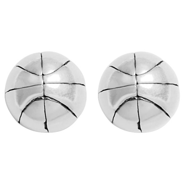 Journee Collection Sterling Silver Basketball Stud Earrings
