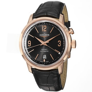 Vulcain Men's '50s President's' Black Dial Rose Gold Automatic Watch