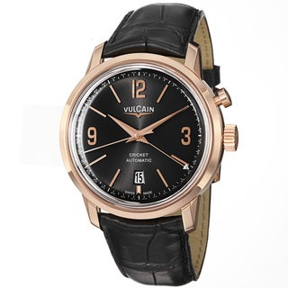 Vulcain Men's 210550.280LBK '50s President's' Black Dial Rose Gold Automatic Watch
