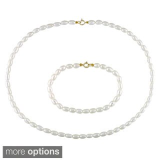 M by Miadora Children's Cultured Freshwater Pearl Necklace and Bracelet Set (3.5-4 mm)