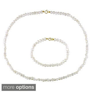 M by Miadora Children's Cultured Freshwater Pearl Necklace and Bracelet Set (4-4.5 mm)