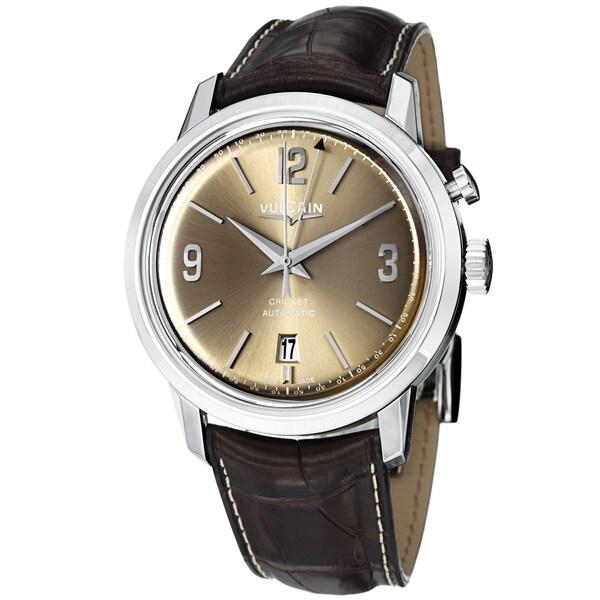 Vulcain Men's 210150.277LFBNC '50s President's' Brown Dial Brown Leather Strap Watch