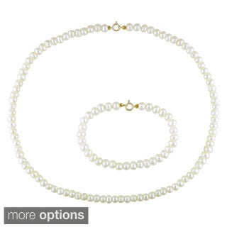 M by Miadora Children's Cultured Freshwater Pearl Necklace and Bracelet Set (4-5 mm)