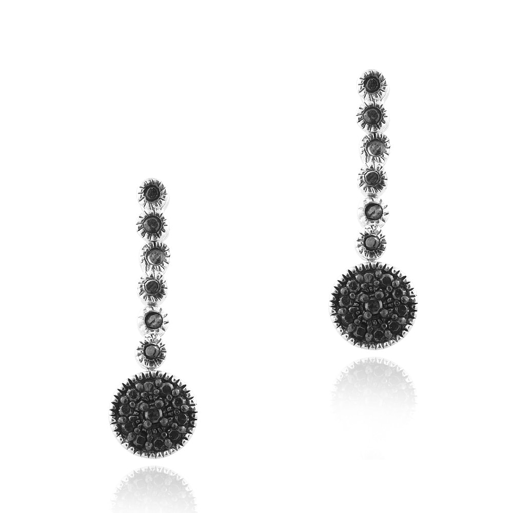 DB Designs Sterling Silver Black Diamond Accent Circle Drop Dangle Earrings