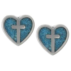 Tressa Sterling Silver Genuine Turquoise Heart Cross Stud Earrings