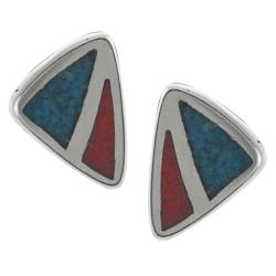 Tressa Sterling Silver Genuine Turquoise and Red Coral Stud Earrings