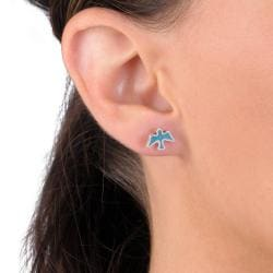 Tressa Collection Sterling Silver Turquoise Bird Stud Earrings