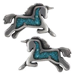 Tressa Sterling Silver Genuine Turquoise Unicorn Stud Earrings