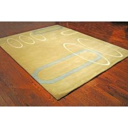 Handmade Soho Ellipses Beige New Zealand Wool Rug (8'3 x 11')