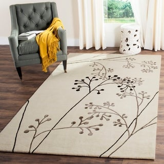 Safavieh Handmade Vine Ivory/ Grey New Zealand Wool Rug (6' x 9')