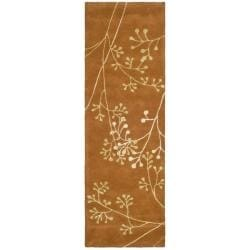 "Handmade Vine Rust New Zealand Wool Runner Rug (2'6"" x 12')"