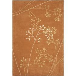 Handmade Vine Rust New Zealand Wool Rug (3'6 x 5'6')