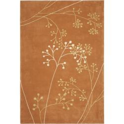 Handmade Vine Rust New Zealand Wool Rug (7'6 x 9'6)