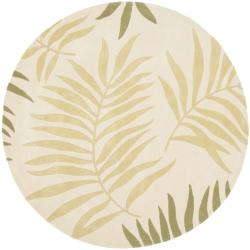Handmade Ferns Ivory New Zealand Wool Rug (2'6 x 12')