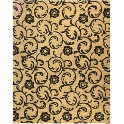 Handmade Rose Scrolls Beige New Zealand Wool Rug (3'6 x 5'6')
